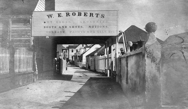 Street view in front of the W.E. Roberts general store in Key West, Florida.
