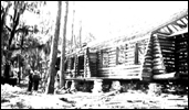 River side view of mess hall during construction by CCC workers at the Oleno forestry training camp (Oleno State Park) - Columbia Ciunty, Florida