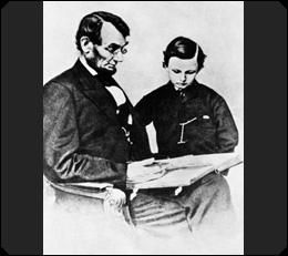 President Lincoln, with his son Tad