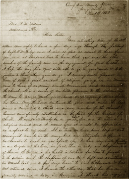 Dr. West Letter from Brandy Station, Virginia, to His Sister in Florida