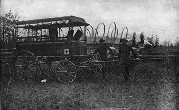 Hospital patrol and supply wagons, in the field