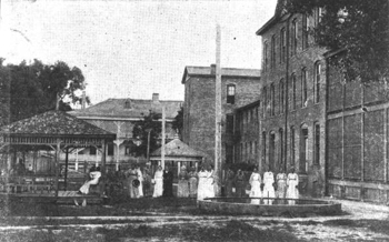 View of white female convalescent yard, Florida State Hospital