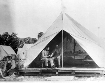 First aid tent at camp for Overseas Railway construction workers