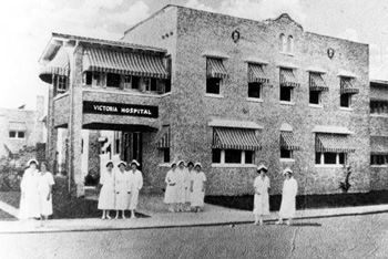 Nurses gathered in front of Victoria Hospital: Miami, Florida