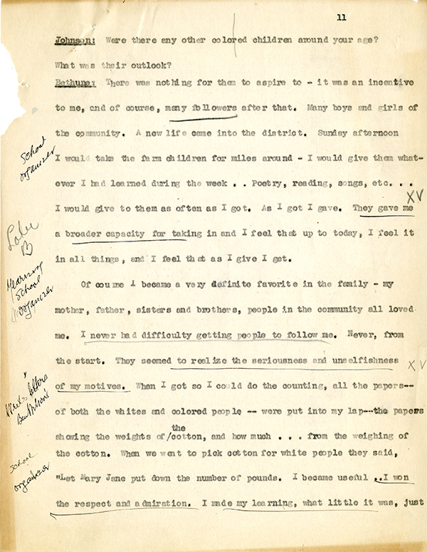 Mary McLeod Bethune Interview Page 11