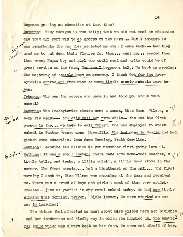 Mary McLeod Bethune Interview Page 14