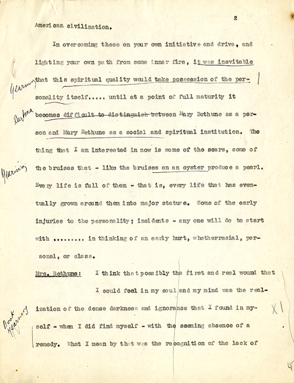 Mary McLeod Bethune Interview Page 2