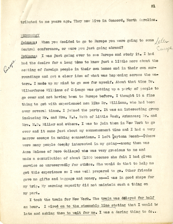 Mary McLeod Bethune Interview Page 21