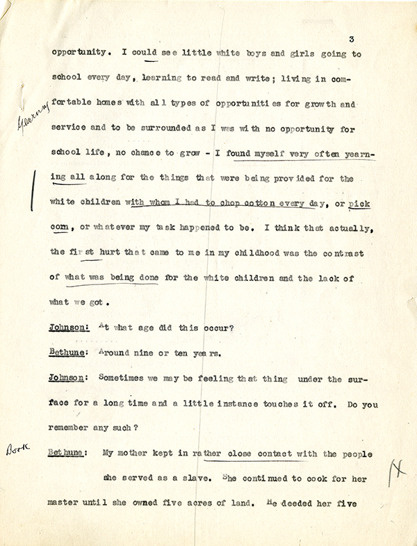 Mary McLeod Bethune Interview Page 3