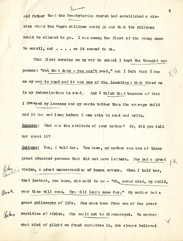 Mary McLeod Bethune Interview Page 5