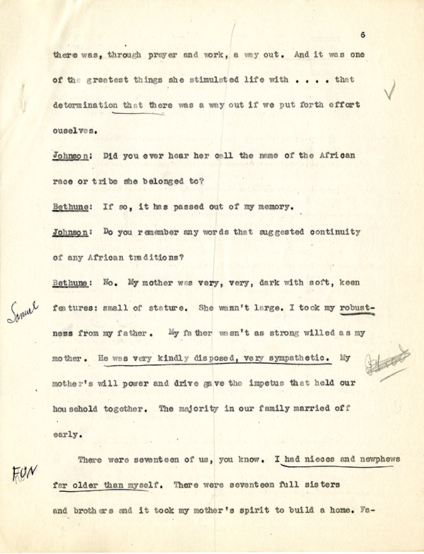 Mary McLeod Bethune Interview Page 6