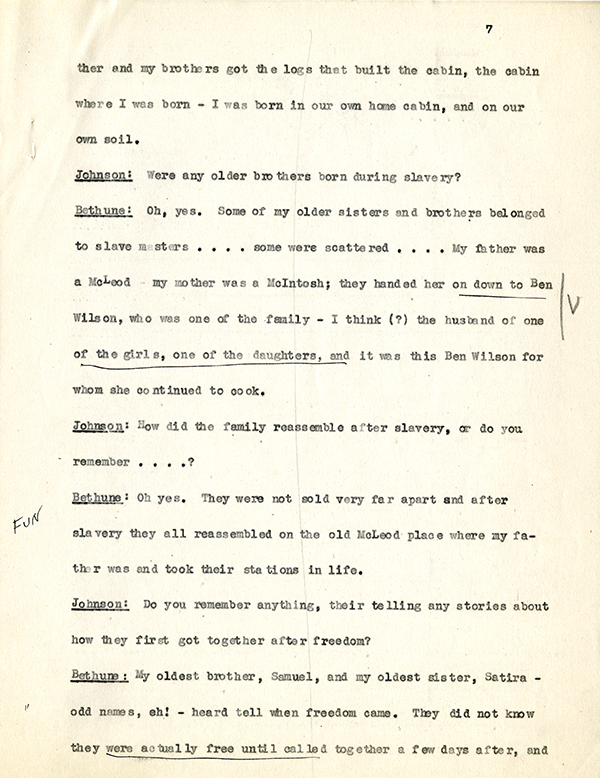 Mary McLeod Bethune Interview Page 7