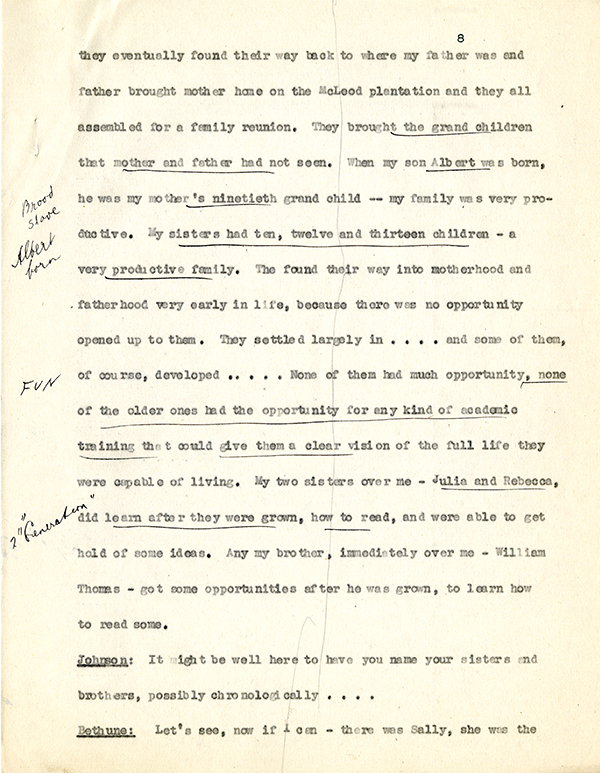 Mary McLeod Bethune Interview Page 8