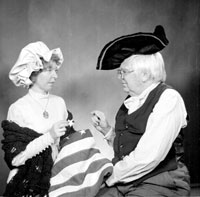 Joan and Allen Morris in revolutionary costume for one of their Christmas cards, 1976