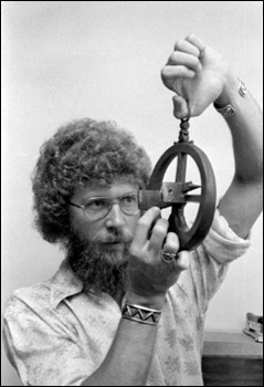 "W. A. ""Sonny"" Cockrell demonstrating an astrolabe"