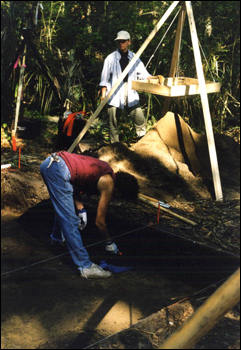 Archaeologist Vicki Rolland with volunteer college student on the University of North Florida's Sarabay Spanish Mission archaeological field school excavation on Big Talbot Island State Park : Jacksonville, Florida (1998)