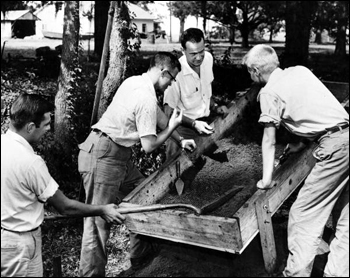 Florida State University professor and students at a dig (1956)