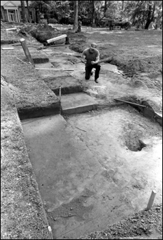 State archaeologist Calvin Jones excavating Hernando Desoto's 1539 winter encampment : Tallahassee, Florida (1987)