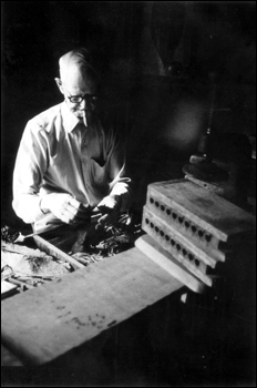 Talmaege Culmer making cigars at the Key West Cigar Factory in Pirate's Alley (between 1975 and 1985)