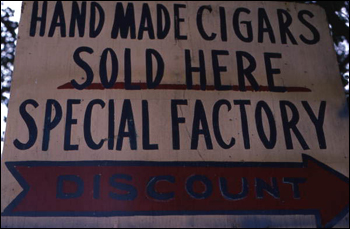 Sign to Rafael Martinez's cigar factory Ramar Cigars: Miami, Florida (not after 1980)