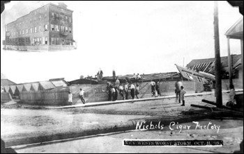 Wreckage of Nichols Cigar Factory after the hurricane: Key West, Florida (1909)