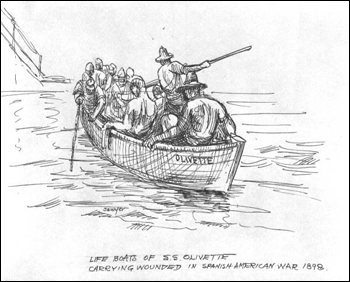 """Olivette"" life boat carrying wounded in Spanish-American War, 1898, drawn by Philip Ayers Sawyer"