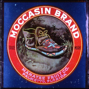 Manatee Fruit Company's Moccasin Brand citrus label: Palmetto, Florida (1986)