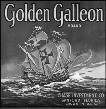 Golden Galleon Brand citrus label: Sanford, Florida (early 1900s)