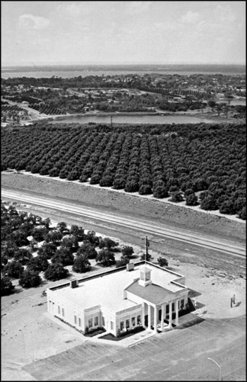 Aerial view of gift shop and citrus groves from atop of the Citrus Tower: Clermont, Florida (ca. 1960s)