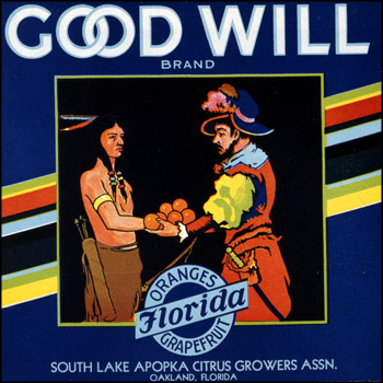 South Lake Apoka Citrus Growers Association's Goodwill brand citrus label: Oakland, Florida (mid 1900s)