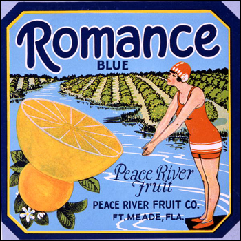 Peace River Fruit Company's Romance Blue brand citrus label: Fort Meade, Florida (mid 1900s)