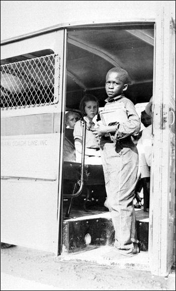 African-American school children on bus: Dade County, Florida (1937)