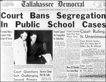Tallahassee Democrat headline for segregation ban: Tallahassee, Florida (May 17, 1954)
