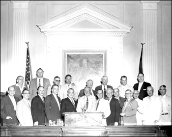 "Group portrait of the ""Pork Chop Gang"" during the 1956 special session of the Senate"