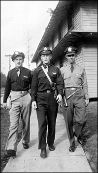 Pilots on the walk beside the barracks (1944)