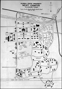 Florida State University map of west campus (1949)