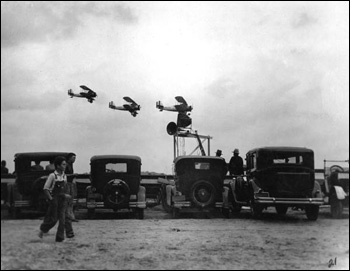 View showing naval planes in flight during grand opening of Dale Mabry Field in Tallahassee, Florida (1929)