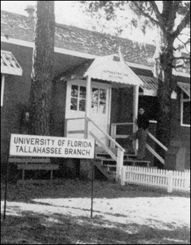 A TBUF student on steps of a building at FSCW: Tallahassee, Florida (1946 or 1947)