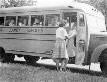 FSCW students getting on school bus: Tallahassee, Florida (1946 or 1947)