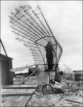 Ornithopter and creator George R. White at St. Augustine (1927)