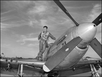 National Guard pilot Bill Yoakley posing on the wing of a plane: Jacksonville, Florida (1949)