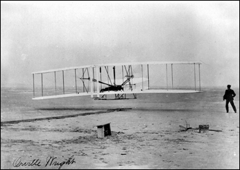 Photograph of Wright Brothers' flight (ca. 1910)