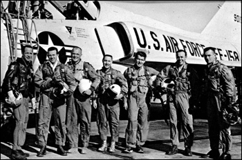 Original Seven Project Mercury astronauts with U.S. Air Force F-106B jet aircraft (1967)