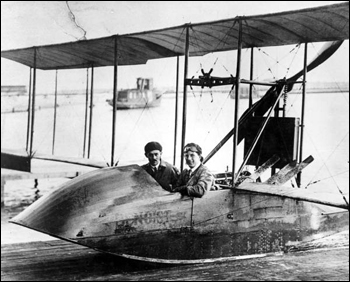 "Men sitting in the flying boat ""Benoist"": Saint Petersburg, Florida (ca. 1920)"