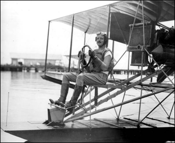 Lt. Commander William M. Corry on seaplane: Pensacola, Florida (1915)