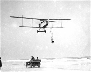 Mabel Cody performing stunt over Vilano Beach: Saint Augustine, Florida (1924)