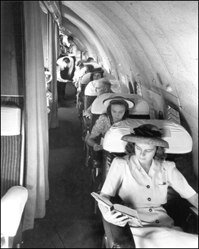 Passengers on a Pan Am Boeing 307 (ca. 1945)