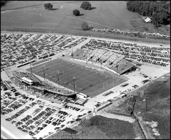 Aerial view of Doak Campbell Stadium during the dedication game: Tallahassee, Florida (1950)
