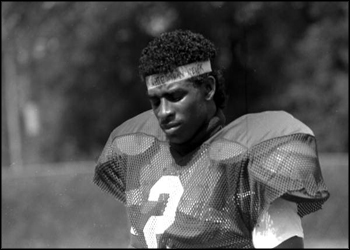 FSU football player Deion Sanders in Tallahassee, Florida, Pro Football Hall of Fame, class of 2011 (late 1980s)