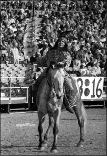 "FSU mascot ""Chief Osceola"" riding ""Renegade"": Tallahassee, Florida (1983)"
